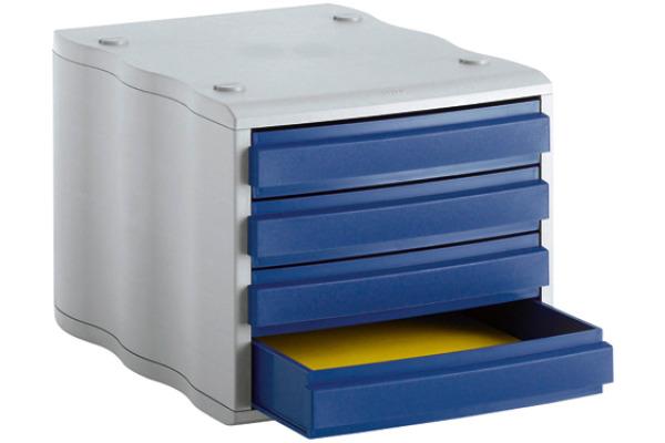 STYRO Schubladenbox blau/grau 248850038 4 Fächer