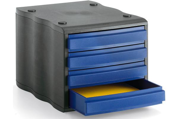 STYRO Schubladenbox schwarz blau 248850039 4 Fächer