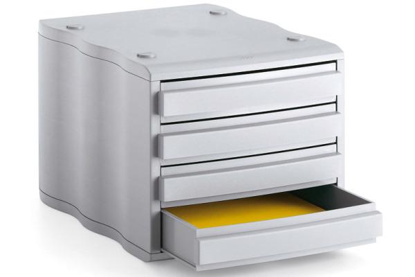 STYRO Schubladenbox grau grau 248850088 4 Fächer
