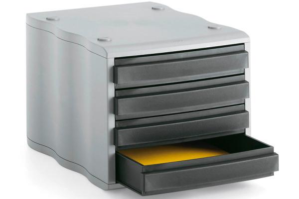 STYRO Schubladenbox schwarz grau 248850098 4 Fächer