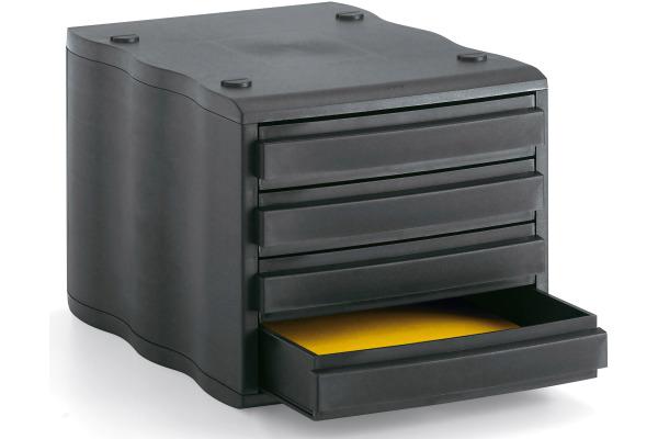 STYRO Schubladenbox schwarz 248850099 4 Fächer