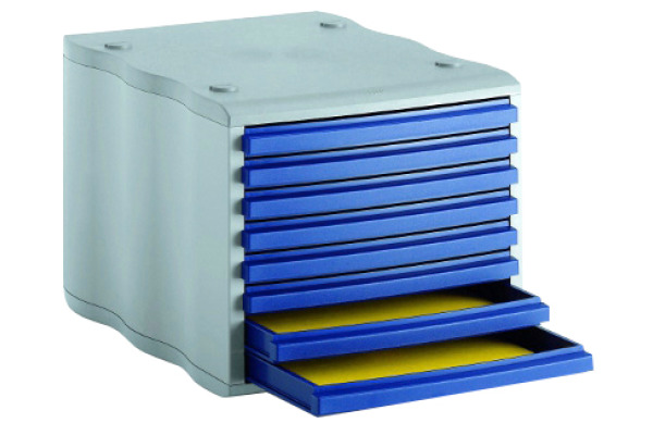 STYRO Schubladenbox grau blau 248855038 8 Fächer