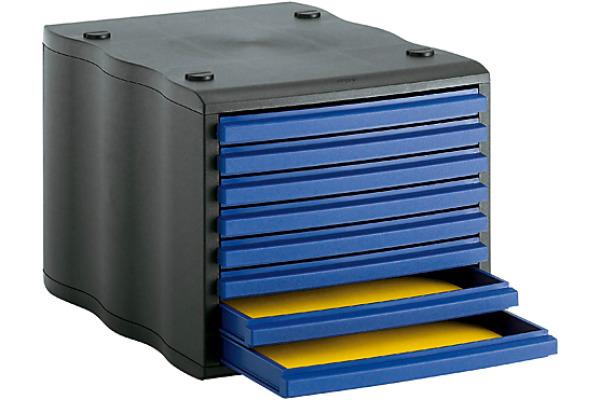 STYRO Schubladenbox schwarz blau 248855039 8 Fächer