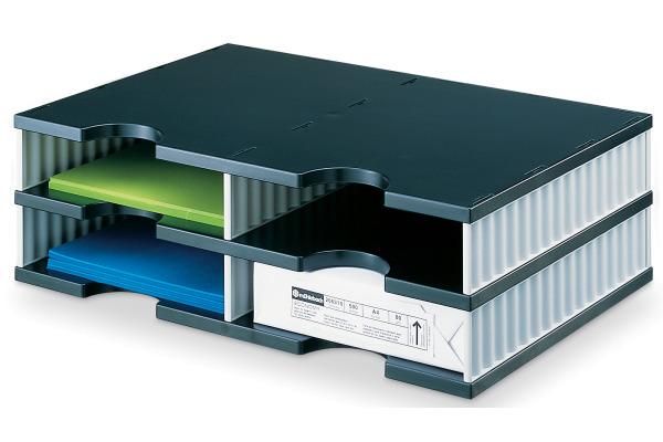 STYRO Schubladenbox Duo schwarz/grau 268-02021 4 Fächer