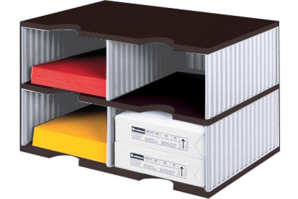 STYRO Schubladenbox Duo schwarz/grau 268-02228 4 Fächer