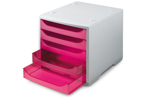 STYRO Schubladenbox grau 275-8427.782 5 Fächer pink