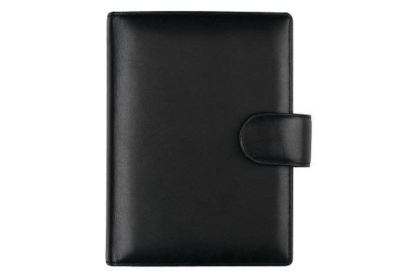 SUCCES Mini Ringbuch Nappa schwarz 0841461.0 mit Lasche ø15mm