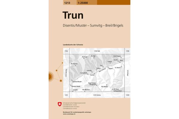 SWISSTOPO Landkarte 1213 Trun 1:25000