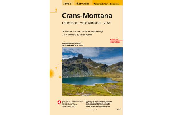SWISSTOPO Wanderkarte 11x17,5cm 3305T Crans-Montana 1:33333