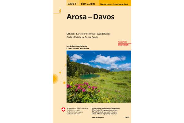 SWISSTOPO Wanderkarte 11x17,5cm 3309T Arosa-Davos 1:33333