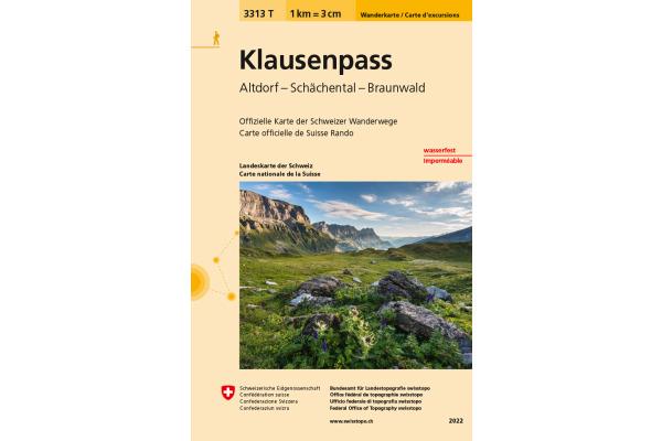 SWISSTOPO Wanderkarte 11x17,5cm 3313T Klausenpass 1:33333