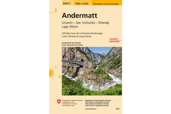 SWISSTOPO Wanderkarte 11x17,5cm 3314T Andermatt 1:33´333
