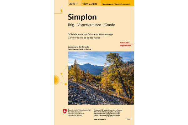SWISSTOPO Wanderkarte 11x17,5cm 3319T Simplon 1:33´333