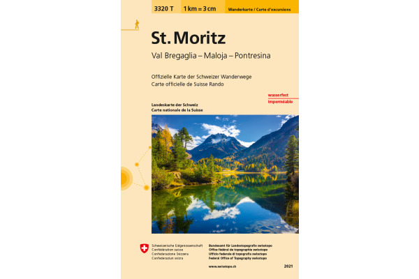 SWISSTOPO Wanderkarte 11x17,5cm 3320T St. Moritz 1:33333