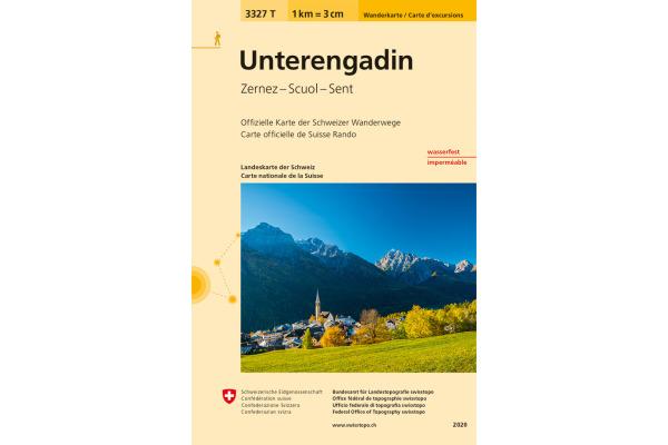 SWISSTOPO Wanderkarte Unterengadin 3327T 1:33333 wasserfest