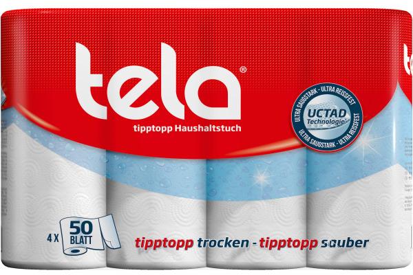 TELA Haushaltrolle tipptopp 5940231 50 Blatt, 2-lagig 4...