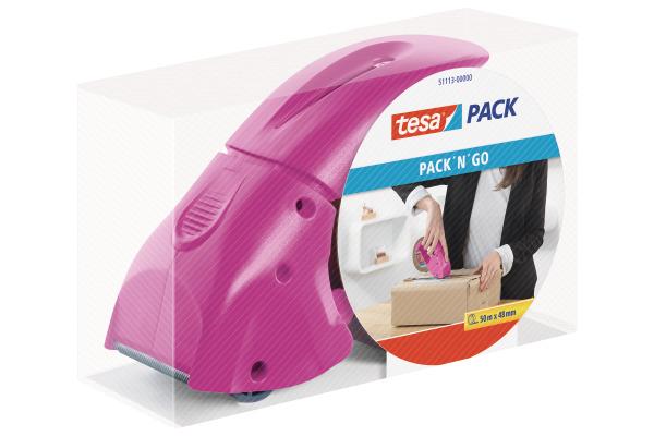 TESA Pack Dispenser 66mx50mm 511130000 Packngo pink
