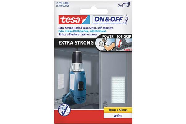 TESA Klettstreifen On&Off 5x10cm 552280000 weiss...