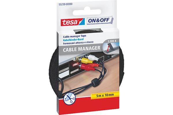 TESA Kabelbinder on&off 10mmx5m 552390000 schwarz
