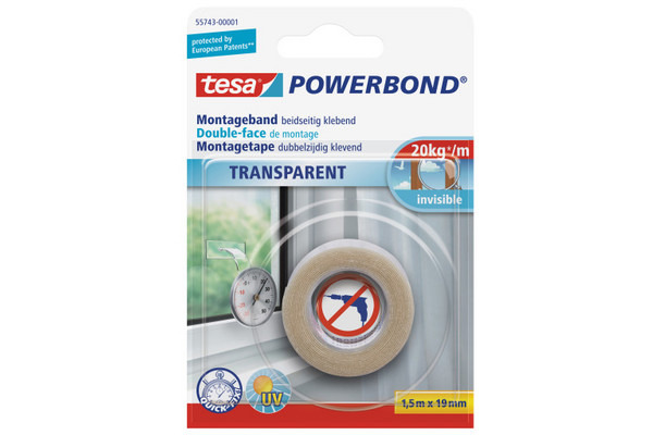 TESA Powerbond Transp. 19mmx1.5m 557430000 Montageband, doppelseitig