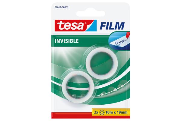 TESA Tesafilm 19mmx10m 57649-00001 invisible 2 Rollen