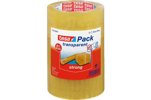 TESA Verpackungsband 50mmx66m 577990000 transparent 3 Stück
