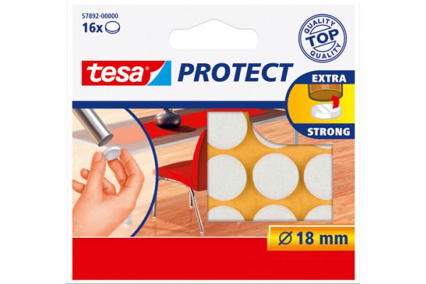 TESA Filzgleiter Protect 18mm 578920000 weiss, rund 16...