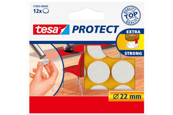 TESA Filzgleiter Protect 22mm 578930000 weiss, rund 12...