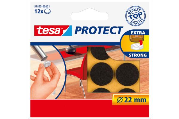 TESA Filzgleiter Protect 22mm 578930000 braun, rund 12 Stück