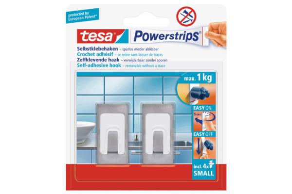 TESA Powerstrips Haken L 579970000 chrom 2 Stück