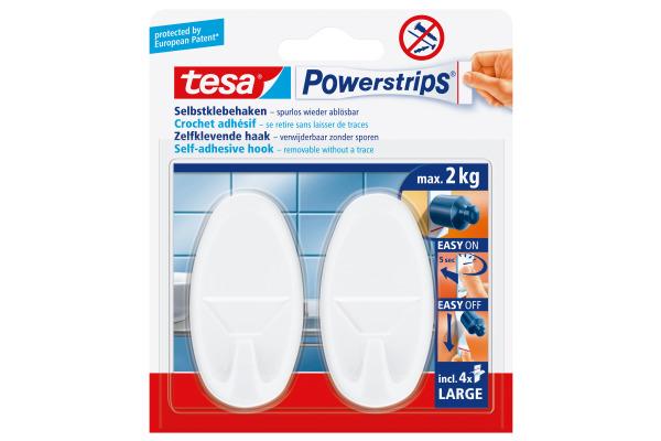 TESA Powerstrips Haken 580130004 weiss, 2 Stück