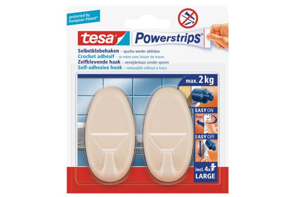 TESA Powerstrips Haken L 580130005 beige, 2 Stück