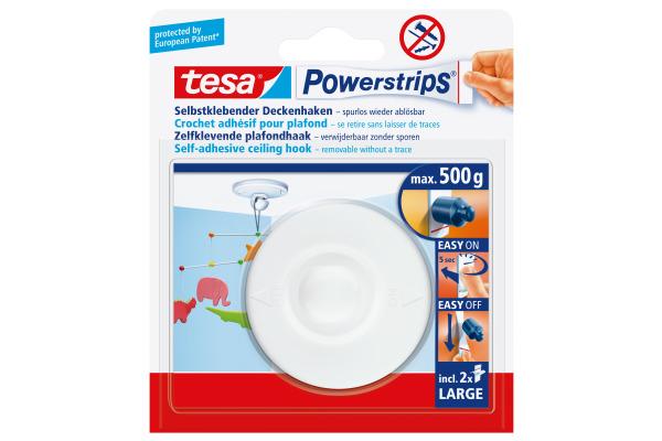 TESA Powerstrips Deckenhaken 580290002 weiss, Belastbarkeit 500gr.