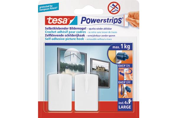 TESA Powerstrips Bilder-Nagel 580310002 weiss, Kapazität 1kg 2 Stück