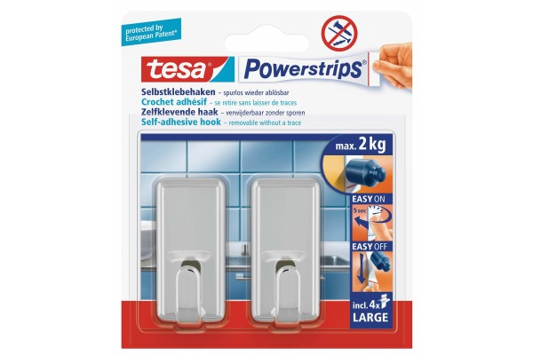 TESA Powerstrips Haken Classic 580510001 2 Haken 4 Strips...