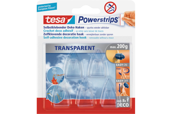 TESA Powerstrips Deco Haken 589000001 transparent 5 Haken...