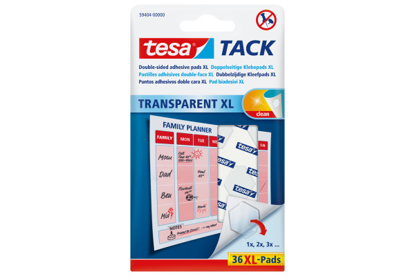 TESA Powerstrips Tack XL 594040000 transparent 36 Pads