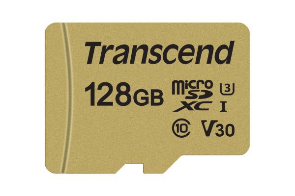 TRANSCEND microSD Card 500S, MLC 128GB TS128GUSD UHS-I U3 with Adapter