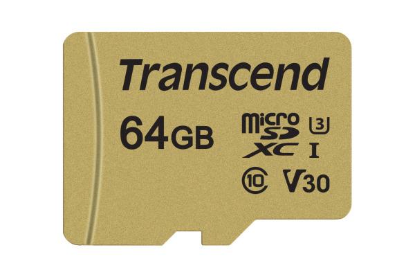 TRANSCEND microSD Card 500S, MLC 64GB TS64GUSD5 UHS-I U3 with Adapter