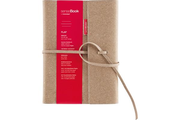 TRANSOTYP senseBook FLAP A5 75010502 kariert, M, 135 Seiten beige