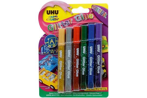 UHU Glitter Glue Original 39040 original colours 6 Stück