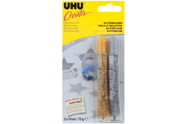 UHU Glitter Glue Creative 44120 gold/silber 2x20ml