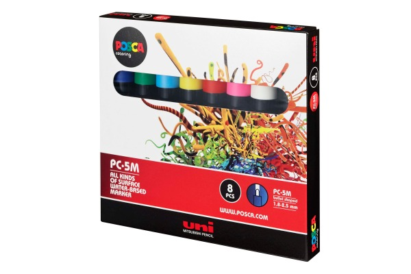 UNI-BALL Posca Marker 1.8-2.5mm PC-5M 8P 8 Farben...