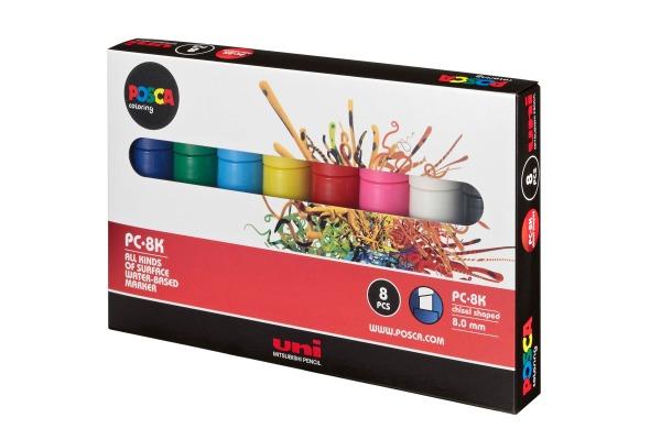 UNI-BALL Posca Marker 8mm PC-8K 8P 8 Farben assortiert 8...