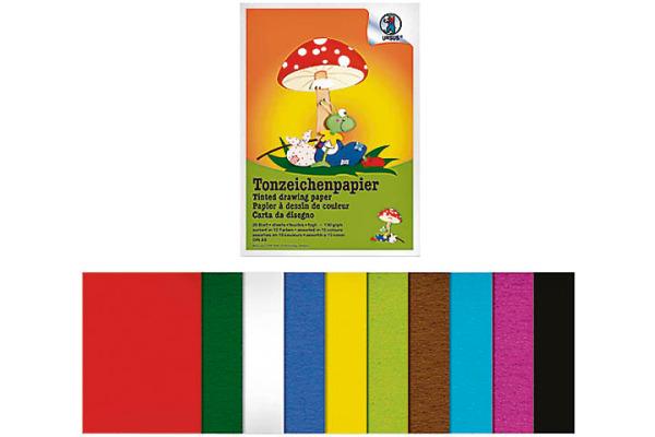URSUS Tonzeichenpapier A4 2134699 130g, 10 Farben ass. 20 Blatt