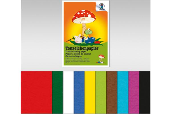 URSUS Tonzeichenpapier A3 2154099 130g, 10 Farben ass. 10 Blatt