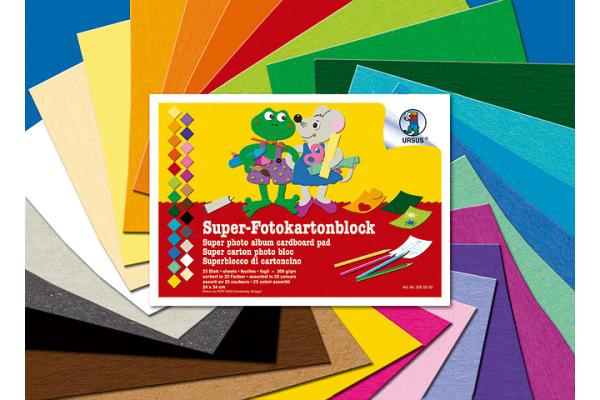 URSUS Fotokarton 24x34cm 3760000 25 Farben ass. 25 Blatt