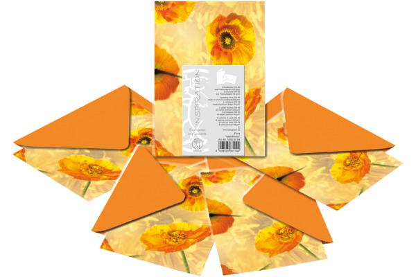 URSUS Karten/Couverts A6/C6 55600004 Mohn 5 Stück