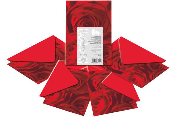 URSUS Karten/Couverts A6/C6 55610004 Rosen rot 5 Stück