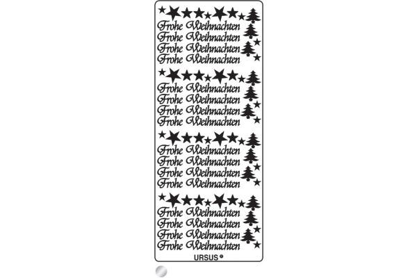URSUS Kreativ Sticker 59110059 Frohe Weihnachten silber